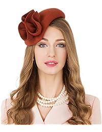 a244c707c31 Vintage Wool Fascinator Cocktail Hat for Women Formal Pillbox Hat Derby  Wedding Dress Party Hats