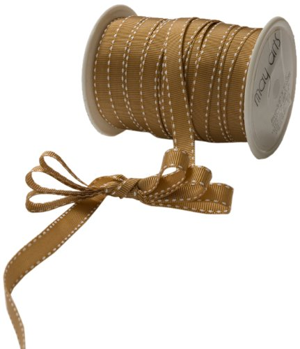 (May Arts 3/8-Inch Wide Ribbon, Antique Gold Grosgrain)