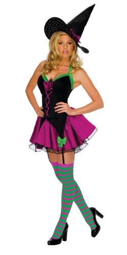 [Secret Wishes Women's Playboy Sparkle Sexy Witch Costume, Black, Medium] (Sexy Halloween Dress Up)