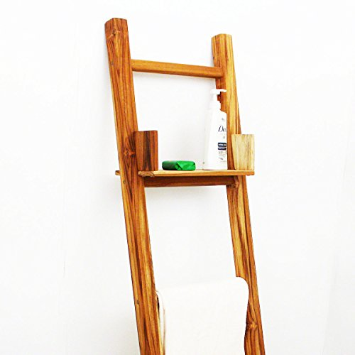 Teak Adjustable Shelf 15 L x 7 W x half inch Th in Teak Oil Fin for Towel Ladder