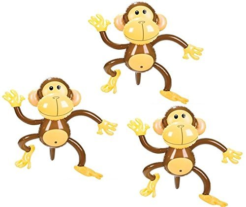 Set of Three Adorable Inflatable 27'' MONKEYS ZOO Party Favor Decor Jungle Animals Birthday by RIN -