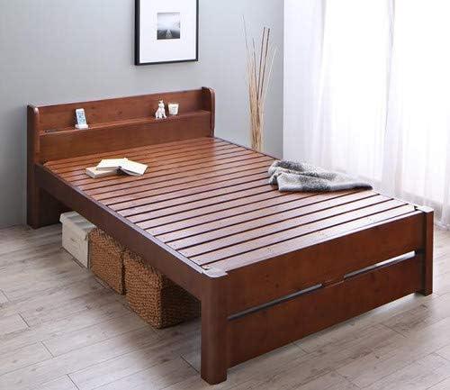 ブラウン 耐荷重600kg ベッドフレームのみ セミダブル 6段階高さ調節 コンセント付超頑丈天然木すのこベッド Walzza ウォルツァ【ノーブランド品】