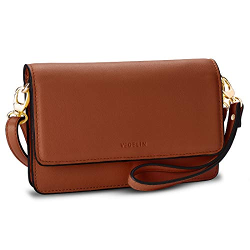 Womens Small Crossbody Bags Leather Purses and Handbags Wristlet Wallet with Phone Pocket and Card Slots, Brown