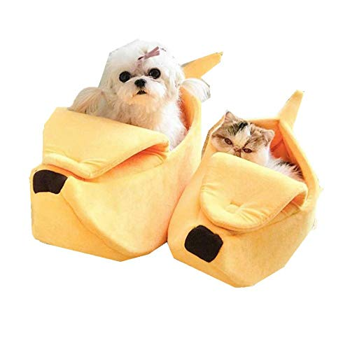 FIRSS-Haustier Haus Niedliche Katze Bett Banane Design Kuschelbett Kaninchen Hunde Sofas Bequem Warm Kissen Matte Katze…