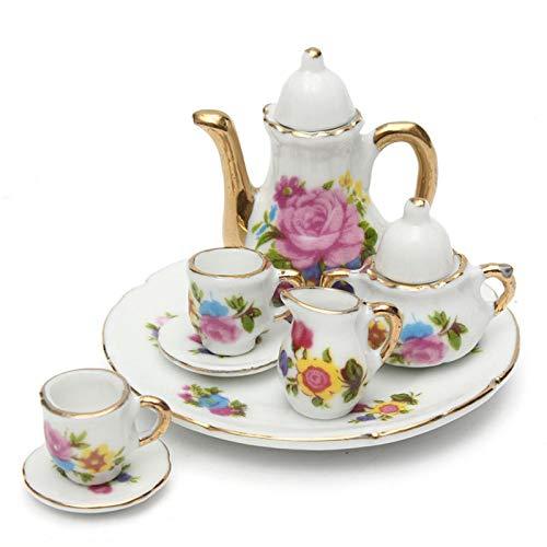 8pcs Porcelain Vintage Tea Sets Teapot Coffee Retro Floral Cups Doll House Decor Toy - Dolls & Stuffed Toys Doll House & Miniature - 1 Pcs Tea Pot (with cover lid)