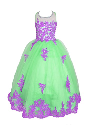 GreenBloom Applique Crystals Flower Girls Pageant Dresses Purple&Green 8