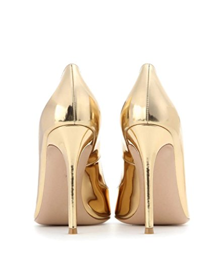 Basic Elegant Handmade EDEFS Party Womens Prom Heel 100mm Shoes Pumps High Patent Gold Chocolate Office Fashion Bt1Xq