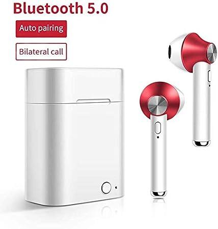 LLDKA Deporte Auricular inalámbrico Sweatproof Auriculares de Alta fidelidad Auricular Bluetooth Auricular en la Oreja de Bluetooth 5.0 con Caja de Carga y micrófono Integrado,Rojo
