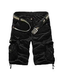 Elonglin Mens Casual Cargo Shorts Multi Pockets Capri Pants