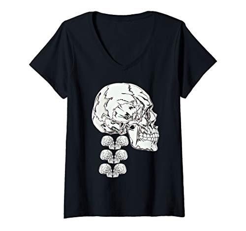 Womens Scary Knight Clothing Skeleton Anatomy Skull and Spine V-Neck T-Shirt