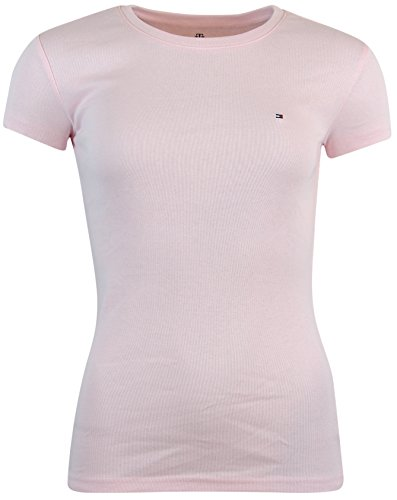 Tommy Hilfiger Womens Crewneck Solid Color Logo T-Shirt - S - Light Pink - Logo Womens Pink T-shirt