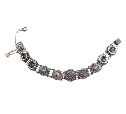 Mariana ''Sweet Summer'' Silver Plated Swarovski Crystal and Czech Glass Link Flower Bracelet, 7.5'' by Mariana