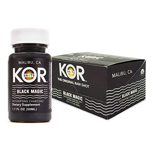 Kor Shots - Black Magic - Dietary Supplement, Detoxifying Activated Charcoal, Cleansing Energy Juice Shot - 24 Pack