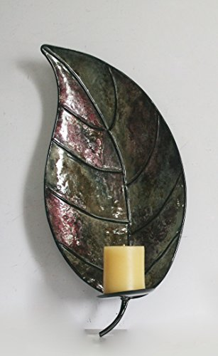 TWG 11SM2287R Metal Leaf Wall Mounted Candle Holder, Dark Green - Leaf Wall Sconce Candle Holders