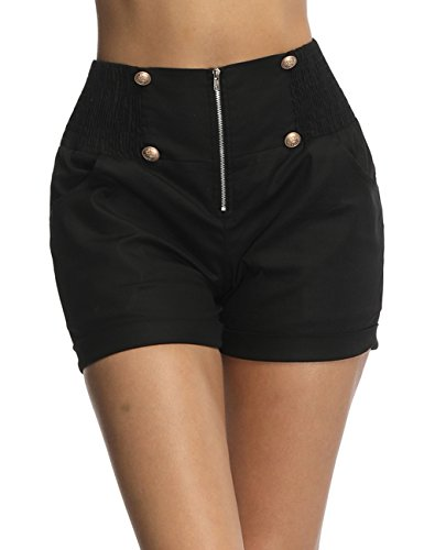 Fancyqube Women's Sexy High Waisted Retro 4 Button Zip up Sailor Smock Pant and Short Black 2XL - Short Smock