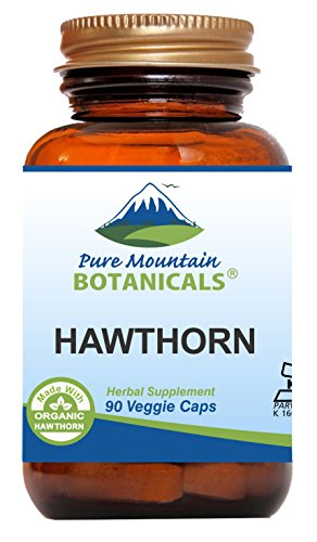 Hawthorn Berry Capsules - 90 Kosher Vegan Caps - Now with 1000mg Organic Hawthorn Berry Powder