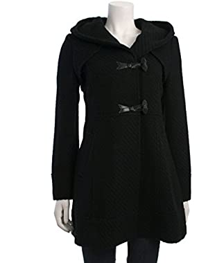 Jessica Simpson Womens Braided Wool Duffle Coat with Hood
