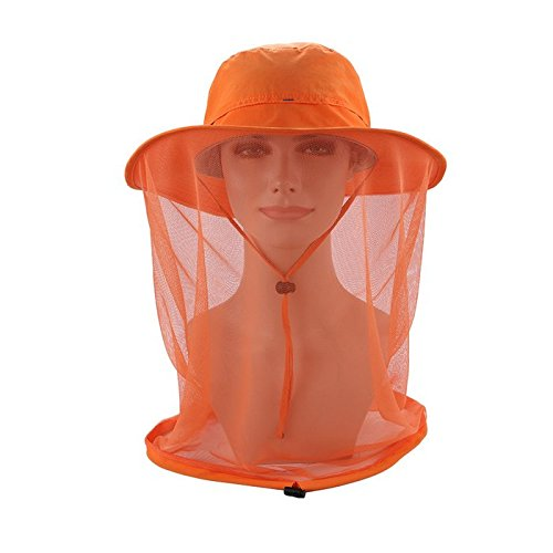 Cindy Will Adjustable Adults Outdoor UPF 50+ Sun Hat/Boonie Hat with Mesh Head Mask Anti-mosquito Netting Net Face Protection for Men/Women(Orange)