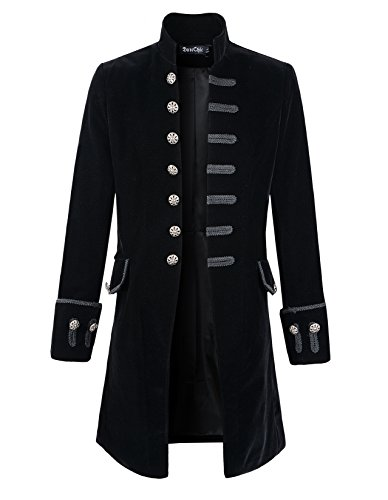 Mens Velvet Goth Steampunk Victorian Frock Coat (XXXL, Black) (Steampunk Clothing Men)