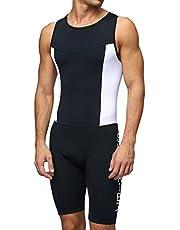 Sundried Mens Premium Gewatteerde Triathlon Tri Suit Compressie Duathlon Running Zwemmen Fietsen huid pak