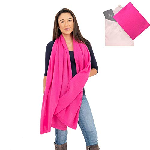 Luxury Cashmere Blend - 100% Cashmere Wrap Shawl Scarf for Women - Pure Luxury Knit - Lightweight, Ultra Soft and Warm includes Beautiful Silk Gift Bag (Dark Pink)