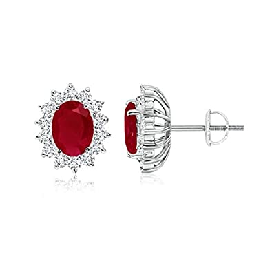 Angara Oval Ruby and Diamond Halo Stud Earrings in Platinum PMvAN