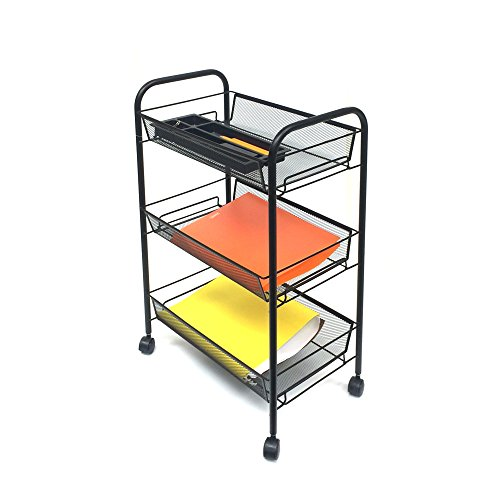 Mind Reader 3 Tier Mobile Cart,All-Purpose Utility Cart, Black