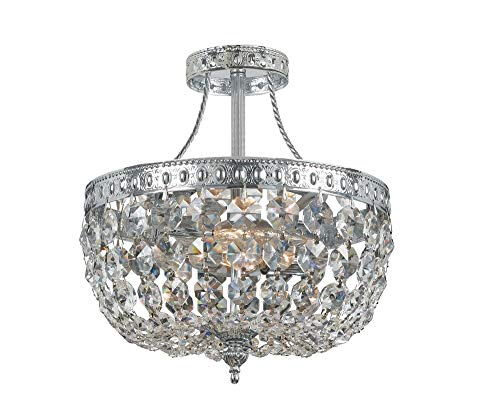 Crystorama 119-10-CH-CL-MWP Crystal Three Light Ceiling Mounts from Traditional Crystal collection in Chrome, Pol. Nckl.finish,