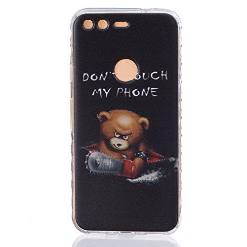 Trumpshop Smartphone Carcasa Funda Protección para Google Pixel XL (5.5 Pulgadas) + Bad + Ultra Suave TPU Silicona Resistente a arañazos Caja Protectora Dont Touch My Phone del oso del bebé