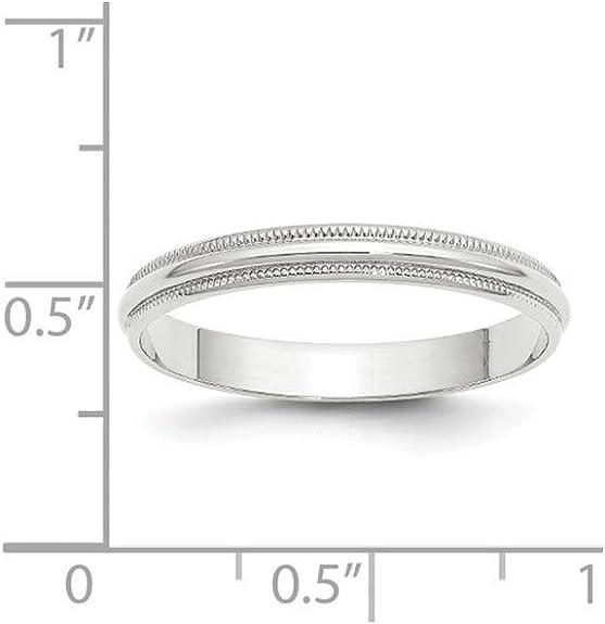 14KW 3mm LTW Milgrain Half Round Band Size 11 Size 11 Length Width 3