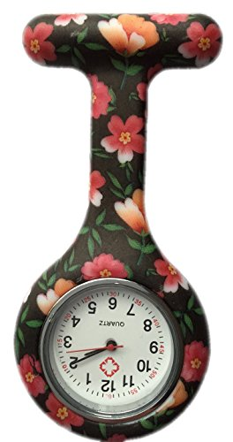 Silicone Watch Nurse Doctor Paramedic Tunic Brooch Fob Watch Medical (Black + Orange)
