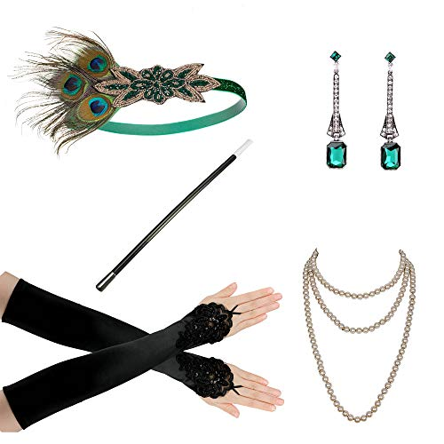 1920s Flapper Accessories Leaf Headband Pearl Necklace Black Gloves Bracelet]()