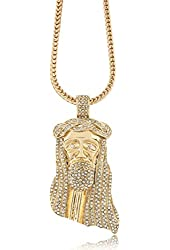 """Iced Out Gold Jesus Piece Larger Pendant w/ 30"""" & 36"""" Franco Chain"""
