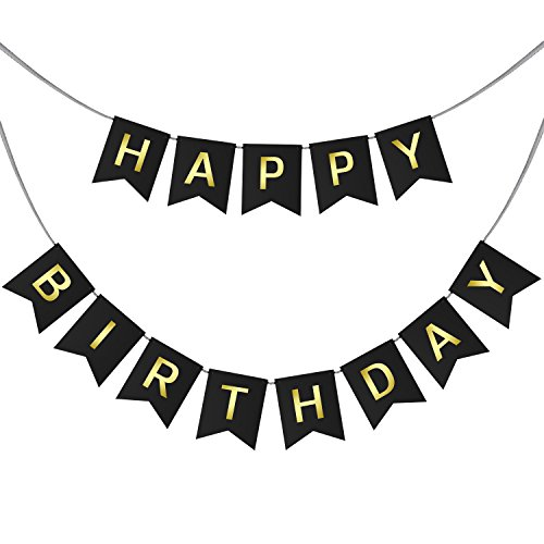 Happy Birthday Swallowtail Bunting Banner for Party Decoration, Black Background & Gold Foiled Letters, Classy Luxurious Decorations by AHAYA