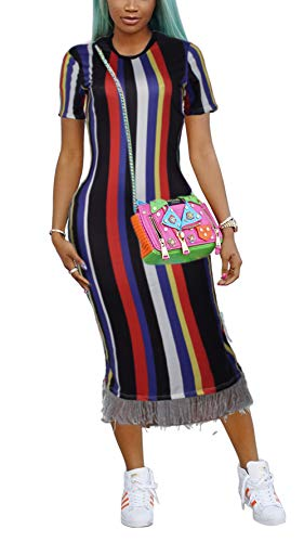 Casual Dress Midi Striped Short Bluewolfsea Women's Bodycon Colorful Sleeve with Black Tassels OW51S1wq