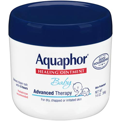 Aquaphor Baby Healing Ointment - Advance Therapy for Diaper Rash, Chapped Cheeks and Minor Scrapes - 14. oz Jar - Large Baby Diapers