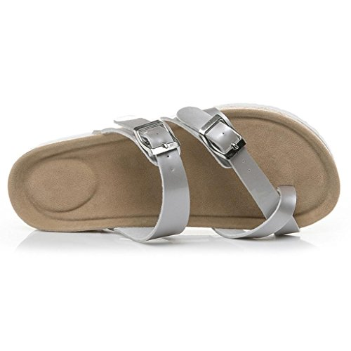 HOT Sale,AIMTOPPY Womens Cross Toe Strap Flat Sandals beach shoes Thick-soled Cork Slippers (US:8.5, Silver) by AIMTOPPY Shoe (Image #3)