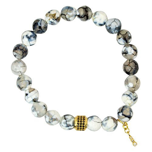 Faceted Black Stretch Bracelet - Faceted White/Grey Crackle Agate Beads with Gold Plated Spacer Bead with Black Onyx Accents - Stretch Bracelet