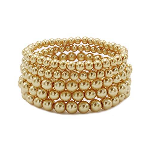 T-Doreen 5 Row Gold Pearl Bracelet Set for Women Girl Beaded Stretch Strand Bracelet - Glass Bead Ball Bracelet