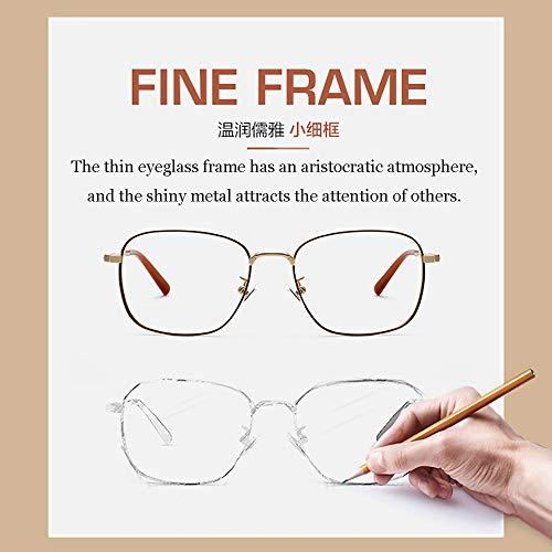 Men's Blue Blocking Glasses,Anti Eyestrain Anti Glare Lens Anti Blue Ray Computer Game Glasses Women Gaming Plain Mirror,Gold by OLDF (Image #3)