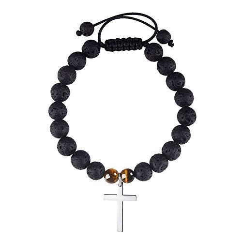 Jeka Cross Charm Lava Stone Bracelet 8mm Beads Natural Lava Rock Essential Oil Diffuser for Boys Girls Children Women Balance Energy Religious Mala Yoga Adjustable Jewelry