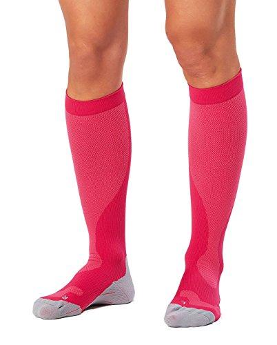 2XU Women's Performance Compression Run Sock, Hot Pink/Grey, Medium (Run Socks Performance)