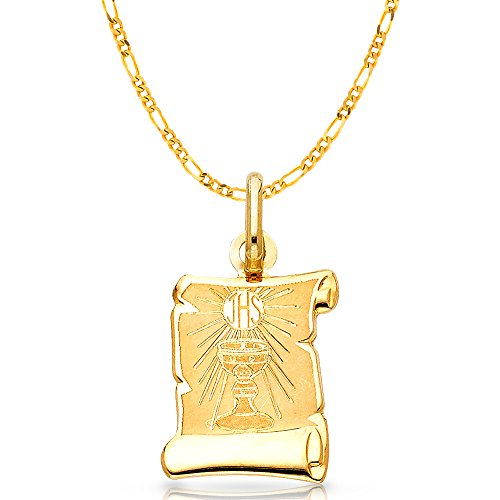 14K Yellow Gold Communion Charm Pendant with 2.3mm Figaro 3+1 Chain Necklace - 18