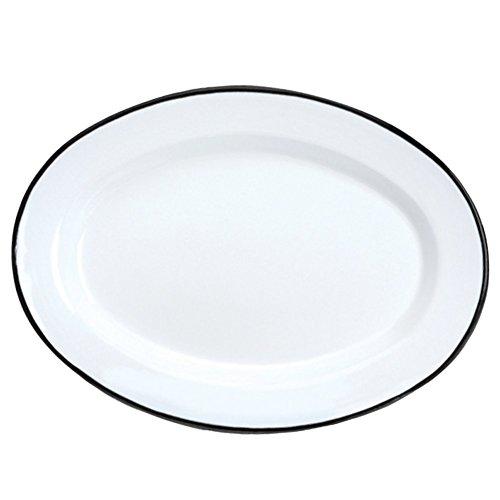 Enamelware Oval Plate, 11.75 inch, Vintage White/Black (4)