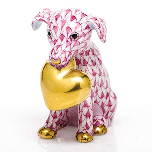 Herend Puppy Dog Love Porcelain Figurine Raspberry Fishnet ()
