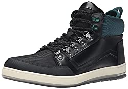 CK Jeans Men's Marshall Leather/Nylon Oxford, Black/Emerald, 13 M US