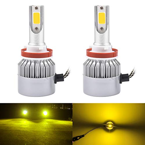 H11 H8 H9 Headlight Fog LED Light Bulbs Amber Yellow 3000K Color for Trucks Cars Lamps DRL Lights Fan Daylight Kit Replacement 12V 24V 72W 7200LM Super Bright COB Chips 1 Year Warranty 2 Pack【1797】