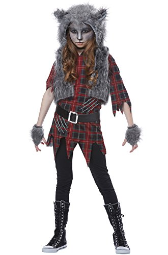 California Costumes Wolf Full Moon Werewolf Girls Costume, Red/Gray, Medium