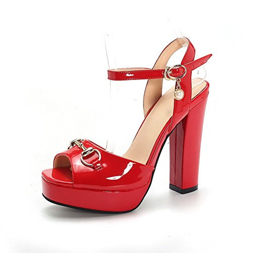 AllhqFashion Women's High-Heels Patent Leather Solid Metal Open Toe Sandals Red VcFQ3WJ7bZ