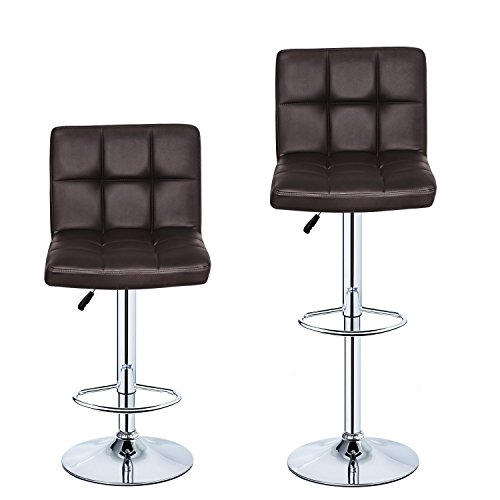 BIFMA standard Brown Set of 2 PU Leather Hydraulic swivel Gas lift bar stool 30inches with back 350 lbs Max Weight Capacity Chair Height Adjustable cushions Health Line Massage Products